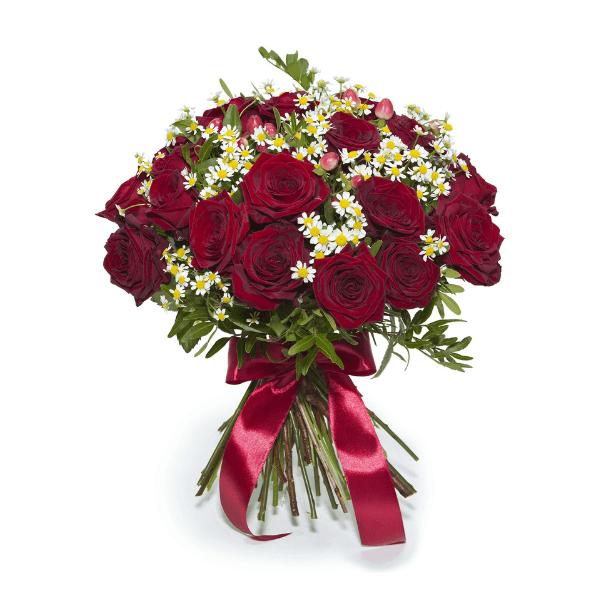 זר ורדים אדומים עם נגיעות לבן