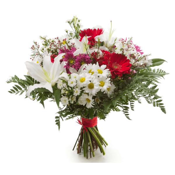 זר פרחים כפרי אדום לבן
