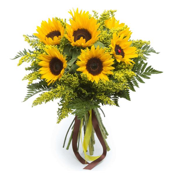 זר פרחים כפרי קלאסי חמניות
