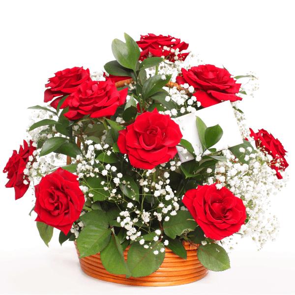 סידור ורדים קלאסי בסלסלה