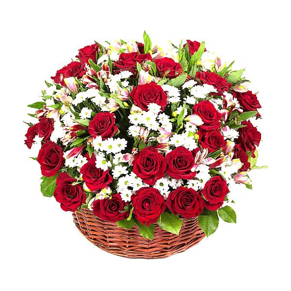 סלסלת ורדים עם נגיעות לבנות